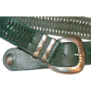 80's Green Leather Belt with Silver Buckle by Avion International