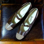 another view of 60's Dark Leather Mary Jane's by Baldino