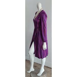 70's Purple Multi Abstract Silk Puff Sleeve Midi Wrap Dress by Missoni