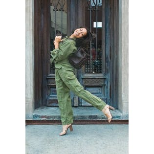Army Green Stone Washed Jumpsuit by Nili Lotan
