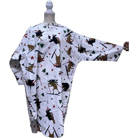 White Skiing Animals Button Down Lounge Shirt by Coldwater Creek