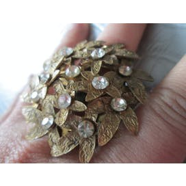 Gold with Rhinestone Floral Bundle Ring