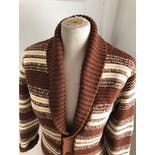 another view of 70's Brown Striped Knitted Cowichan Style Grandpa Cardigan