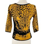 another view of 90's Black and Yellow Leopard Print Sweater by Angelica Val