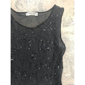 90's Sheer Black Sequin Bodysuit by Giorgio Armani