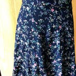 another view of 80's/90's Navy Blue Floral Skirt by Tracy Evans