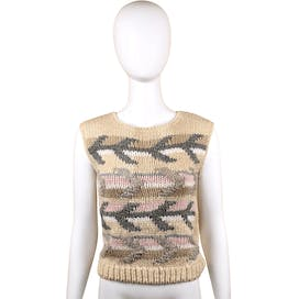 80's Beige Sleeveless Abstract Sweater by Jamie Scott