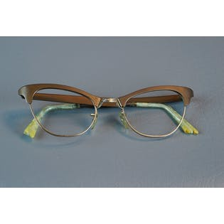 50's Gold Cat Eye Frames, Eyeglass Frames, Deadstock NOS