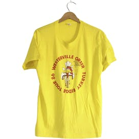 80's Yellow Turkey Ridge Tour Cycling Bicycle Cotton T-Shirt by Screen Stars