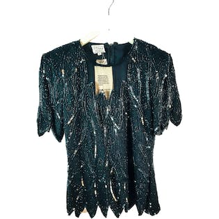 80's Black Silk Sequin Top by Stenay