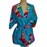 Bright Blue Floral Fan Print Robe