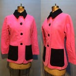 another view of 80's Pink and Black Wool Coat by Yves Saint Laurent