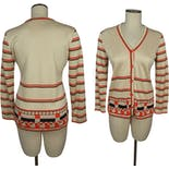 another view of 70's Off White and Orange Slinky Knit Cardigan by Manor