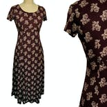 another view of 90's Burgundy Floral Maxi Grunge Dress by Richard Michael