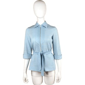 70's Blue and White Striped Jacket With Tie Belt by DeSaix