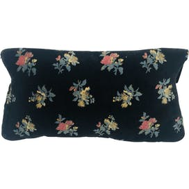 70's Black Velour Floral Clutch