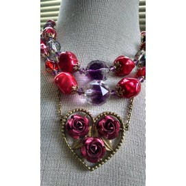 40's Pink Beaded Double Strand Floral Heart Necklace