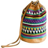 Traditional Ethnic Print Drawstring Bucket Bag