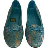another view of 60's Turquoise Blue Embroidered Silk Flats by Daniel Green