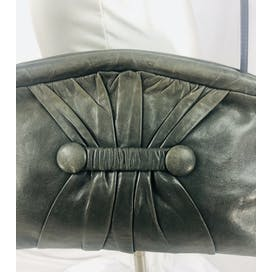 80's Gray Leather Convertible Clutch Shoulder Bag