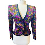 80's Multicolor Floral Puff Sleeve Blazer Jacket by Yves Saint Laurent