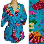 another view of Bright Blue Floral Fan Print Robe