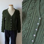 another view of 60's Hand Knit Green Cardigan