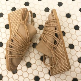 70's Beige Rope Wedge Sandals