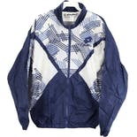 90's Blue And White Colorblock Geometric Print Men's Athletic Jacket by Lotto Italia