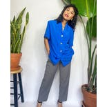 90's Bright Blue Swirly Button Up with Pleated Front