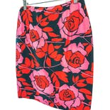 80's Red Rose Silk Skirt by Maggy London