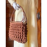 another view of 70's Popcorn Stitch Chunky Textured Tortoise Handle Bag