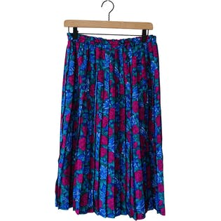 80's Purple Floral Skirt and Matching Kerchief by Andrea Gayle Petites