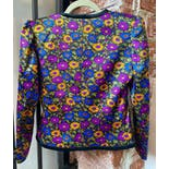 another view of 80's Multicolor Floral Puff Sleeve Blazer Jacket by Yves Saint Laurent