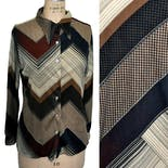 another view of 70's Brown Striped Geometric Chevron Blouse by Jamboree New York