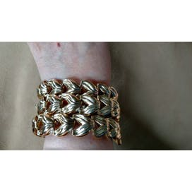 70's Three Strand Gold Ornate Chain Bracelet