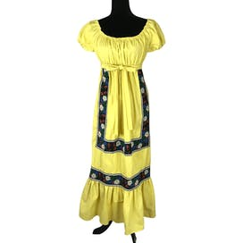 70's Yellow Cotton Embroidered Peasant Dress
