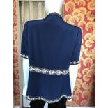 another view of 80's Royal Blue Silk Short Sleeve Blazer with Embellished Trim by S. Ballin