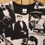 another view of 90's Black and White James Dean All Over Print Men's T-Shirt by Fruit of the Loom