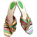 Multicolor Satin Striped Kitten Heel Sandals