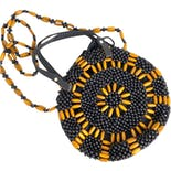 Black and Golden Brown Beaded Round Crossbody Bag by Straw Studios