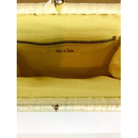 60's Yellow Woven Straw Convertible Clutch