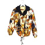 90's Multicolor Printed Hooded Bomber Jacket by Braetan