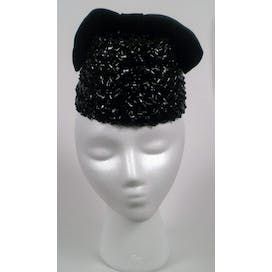 60's Black Straw Hat with Velveteen Bow by Miss Sally Victor NY