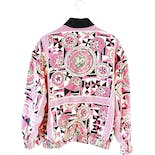 another view of 80's Pink Printed Bomber Jacket