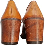 another view of 60's Brown Leather Solid Wood Wedge Lace Up Clogs