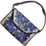 50's Tan and Blue Floral Leather Shoulder Bag