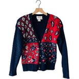 90's Navy and Red Floral Cardigan by Talbots