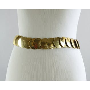 90's Metal Belt, Gold Stretch Coin Belt