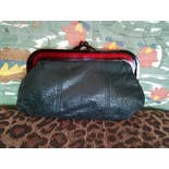 another view of 60's Black Leather Clutch